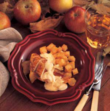 Pheasant breast with apples