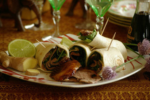 Soy, ginger and spinach duck wrap