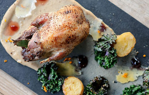 Roast Partridge with bread and cheese