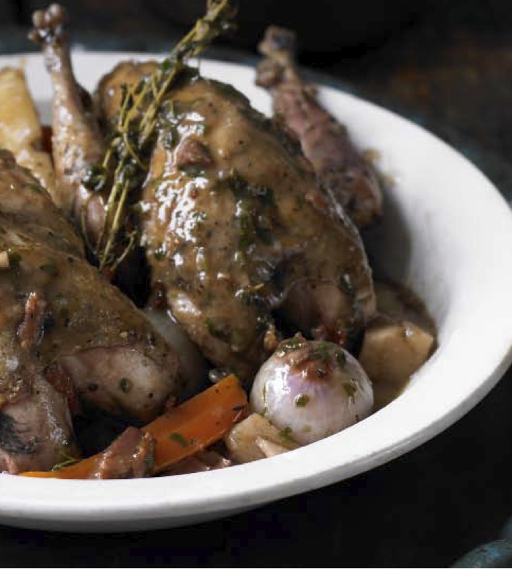 Pot roasted pheasant, properly garnished