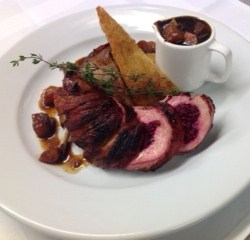 Breast of Pheasant in Bacon with Beetroot