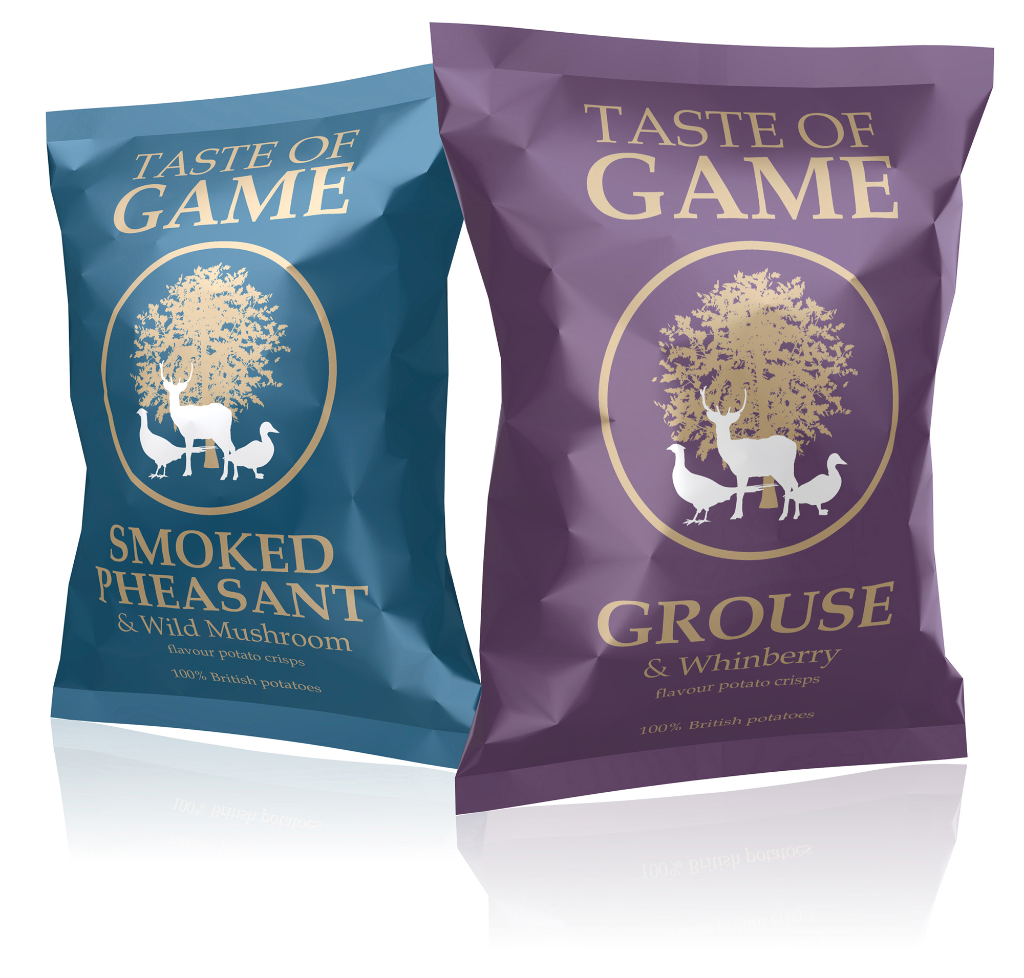 A taste of the countryside – grouse & whinberry and smoked pheasant & wild mushroom crisps
