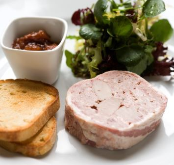 Game terrine with quince purée