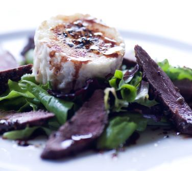 Peppered hare loin with goat's cheese