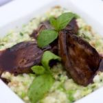 Pigeon breasts with pea risotto