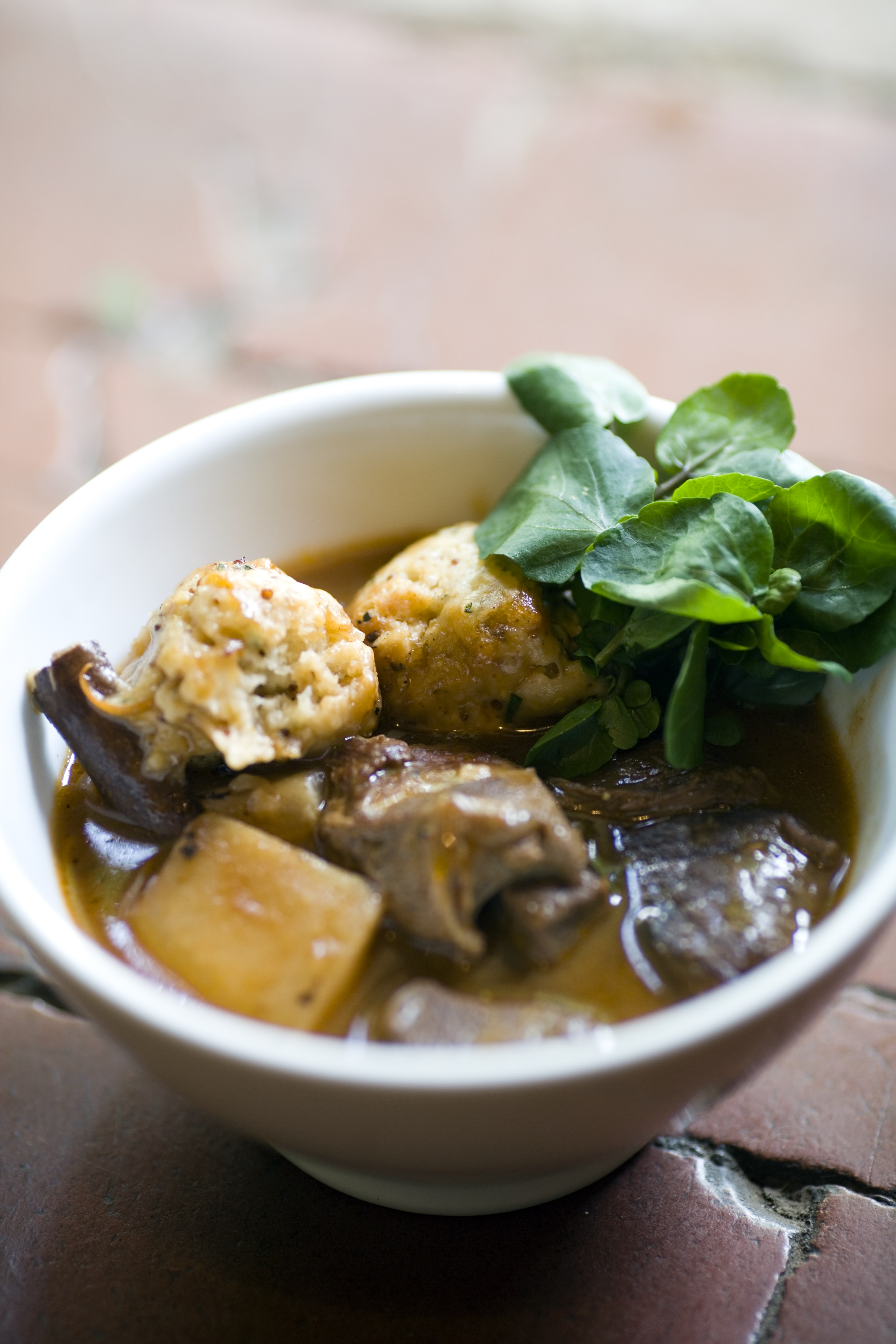 Venison casserole with tarragon juniper dumplings