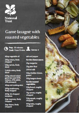 National Trust serves Game Lasagne