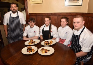 The Blue Lion chef Jon Appleby shows Middlesbrough College trainees that partridge is just as easy to cook as chicken!