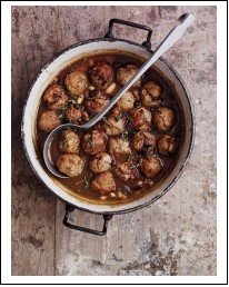 Game Meatballs in Bean & Red Wine Sauce