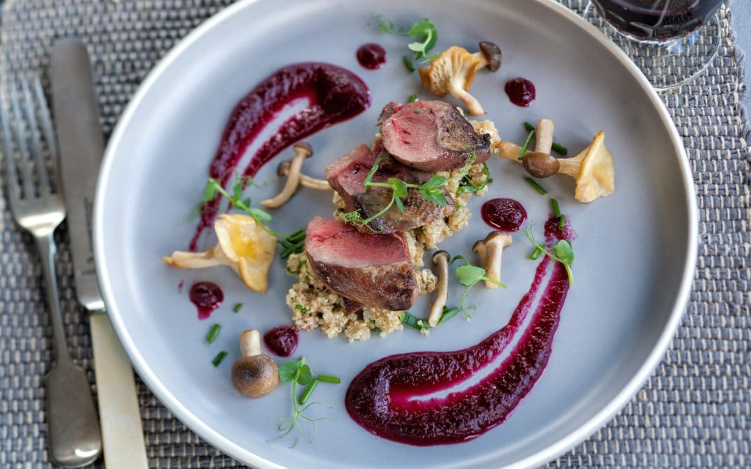 Wood pigeon with Beetroot, Quinoa & Wild Mushrooms