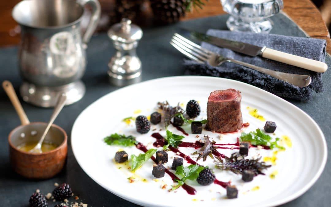 Venison with Blackberries & Warm Salad of Black Pudding, Wild Mushroom & Kale