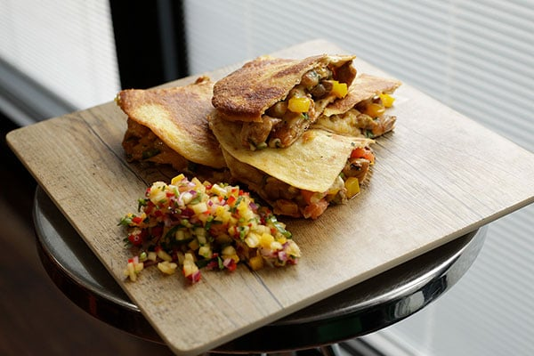 Spicy partridge quesadilla with mango salsa