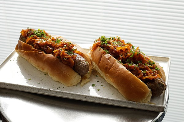 Venison hot dogs with onions