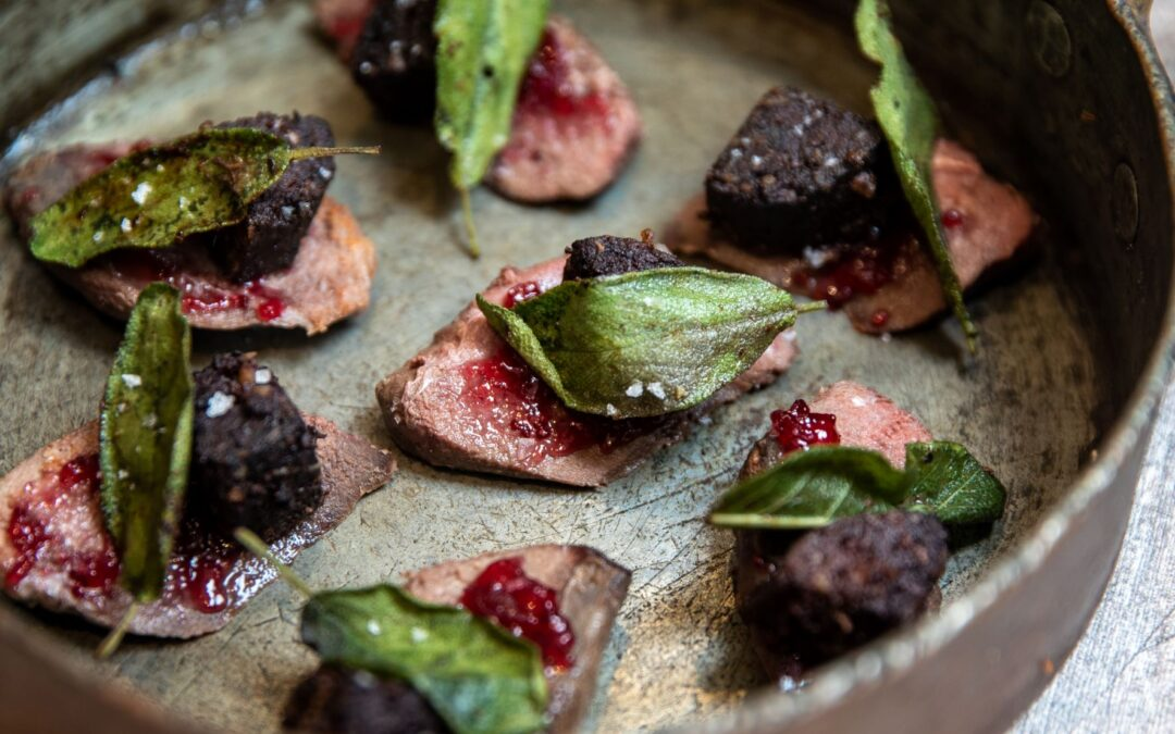 Pigeon and black pudding bites with cranberry sauce